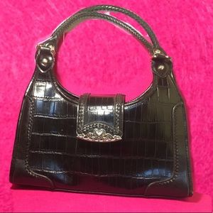 2293a2dca Leather💋boxed purse silver clutched. Medium sized